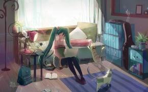Picture girl, light, room, cats, lamp, anime, art, laptop, vocaloid, hatsune miku, shadowsinking