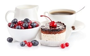 Picture berries, coffee, food, cream, plate, spoon, Cup, cake, dessert