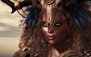 Picture look, girl, face, skull, mulatto, headdress