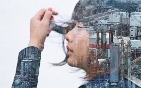 Wallpaper girl, double exposure, industrial zone