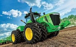 Picture big, tractor, farming, John Deere, 9520r