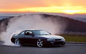 Picture nissan, turbo, wheels, drift, black, japan, smoke, jdm, tuning, silvia, burnout, low, 200sx, s14, datsun