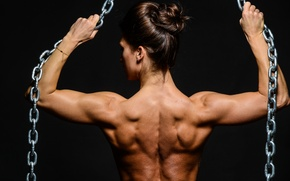 Picture woman, muscle, back, fitness, chains, bodybuilder