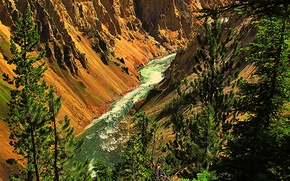 Picture trees, mountains, river, rocks, gorge, USA, Yellowstone National Park