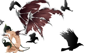 Picture blood, skull, wings, anime, the demon, tail, horns, guy, Raven, Blue exorcist, ao no exorcist
