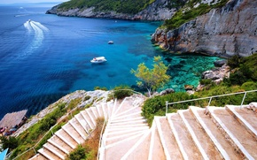 Picture sea, coast, boats, stairs