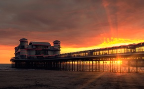 Picture sea, the sky, clouds, rays, sunset, lights, shore, England, the evening, pierce, glow, Weston-super-Mare, Somerset, ...