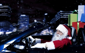 Wallpaper Santa Claus, gifts, new year, traveling by car, black background, machine