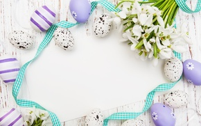 Picture flowers, eggs, snowdrops, Easter, flowers, spring, Easter, eggs