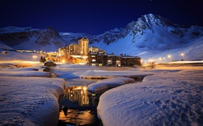 Picture winter, snow, mountains, night, river, resort, cottages
