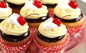 Picture chocolate, cream, dessert, cakes, sweet, cherries, glaze, cupcakes