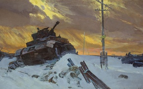 "Wallpaper the sky, posts, Picture, tank, The great Patriotic war, ""the Enemy is stopped"", F Osipenko, ..."