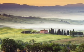 Picture fog, Italy, house, Italy, hills, cypress, mist, Tuscany, Tuscany, cypress
