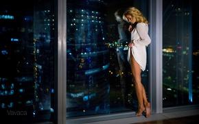 Wallpaper model, window, legs, Vladimir Nikolaev, Ekaterina Zueva, Vavaca