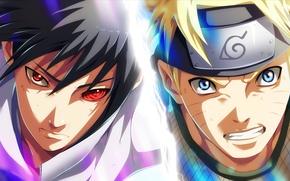 Picture guys, naruto, anime, art, Uchiha Sasuke, Naruto Uzumaki