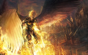 Picture the sky, clouds, the city, weapons, home, wings, angel, sword, art, armor, guy, takakyo