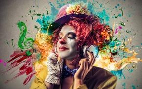 Picture flower, girl, squirt, music, paint, headphones, hat, brightness