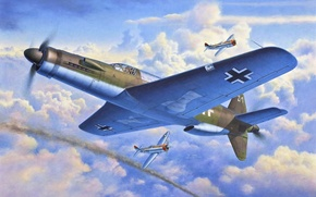 Picture the sky, war, smoke, fighter, battle, Art, American, Thunderbolt, German, P-47, Dornier, Dornier, twin-engine, Air …