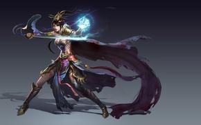 Picture girl, fantasy, sword, warrior, art, skill