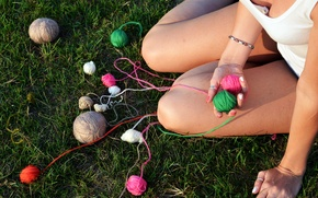 Picture grass, girl, feet, shorts, thread, clubs