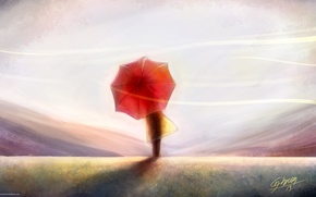 Picture the sky, the wind, back, people, art, painting, red umbrella