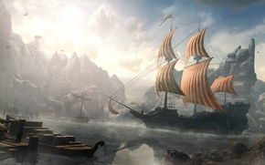 Picture river, ship, Ezio auditore da Firenze, Assassin's Creed: Revelations, Cappadocia