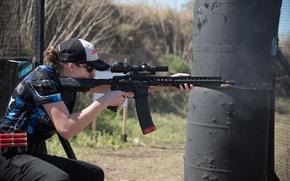 Wallpaper gun, woman, precision, speed, competition, telescopic sight