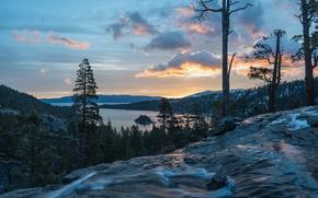 Picture lake, waterfall, CA, panorama, California, Lake Tahoe, lake Tahoe, waterfalls Needles, Eagle Falls, Emerald Bay …