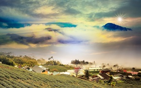Picture autumn, the sky, clouds, landscape, sunset, mountains, nature
