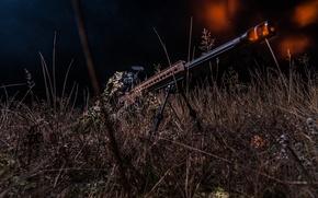Picture grass, fire, shot, optics, disguise, sniper, rifle