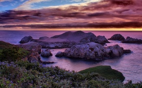 Wallpaper California Dreaming, CA, coast, sea, rocks, clouds, the sky, horizon, sunset, reefs, stones, USA