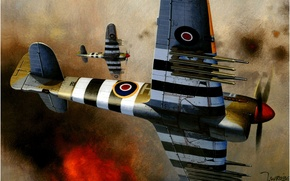 Picture war, art, army, airplanes, ww2, german aircraft, british aircraft, aviation art, the hawker tempest, HE …