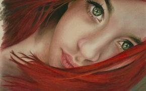 Wallpaper look, red, art, painting, face, hair, neck, girl, lips, green, eyes