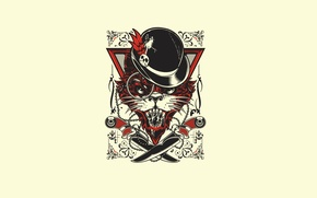 Wallpaper Art, Minimalism, Hat, Knives, Joshua M. Smith (Hydro74), Evil Cat