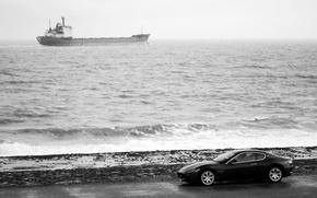 Picture sea, machine, coast, Maserati, tanker, black and white, granturismo