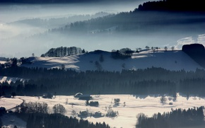 Picture winter, hills, village, forest, winter, snow, houses, cold, Veil of mist, Nebulous, Veil Nebula, Veil …