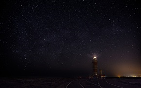Picture the sky, stars, night, lighthouse