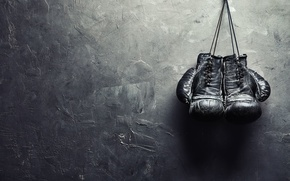 Wallpaper wall, boxing, nail, gloves
