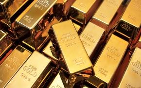 Picture metal, purity, polished gold bullion, kilo