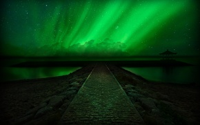 Picture stars, landscape, night, Northern lights