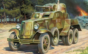 Picture gun, art, guns, chassis, WWII, was, mark, the crew, armored car, plant, Soviet, average, caliber, …