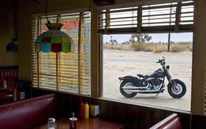 Wallpaper Harley Davidson, Window, Dining room