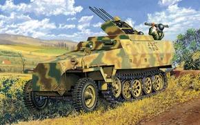 Picture war, art, painting, ww2, flak, Sd.Kfz 251/21 Ausf.D Drilling