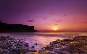 Picture sea, stones, open, dawn, shore