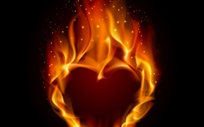 Picture heart, sparks, flame