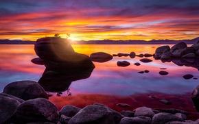 Picture sunset, rock, lake, stones, Lake Tahoe, Bonsai Rock