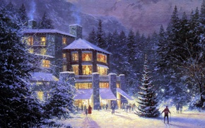 Picture forest, people, holiday, Winter, picture, ate, Christmas, tree, the hotel, painting, Christmas, skier, Thomas Kinkade, …