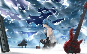 Picture the sky, girl, clouds, light, guitar, headphones, piano, art, instrumento, vocaloid, hatsune miku, synth, bob, …