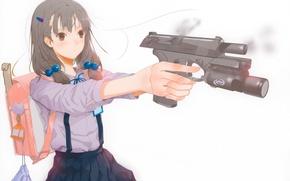 Picture gun, shot, talisman, white background, girl, schoolgirl, satchel, haruaki fuyuno, gun &amp