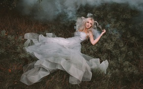 Picture forest, girl, fog, smoke, dress, blonde, lies, needles, Princess, Wallpaper from lolita777